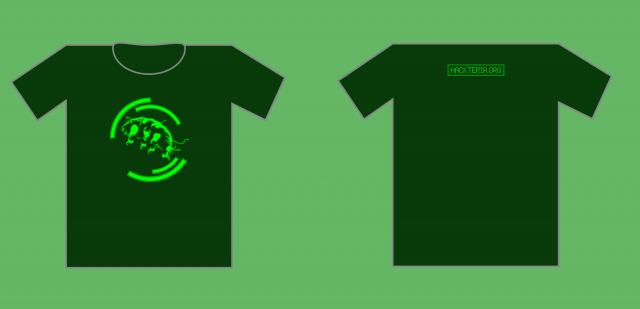 Hackteria t shirt with back green.png