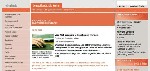 Interviews and documentaries on Deutschland Radio