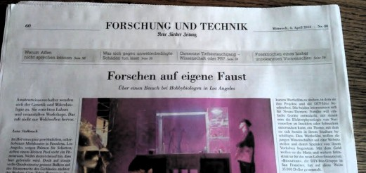 DIYbio article and interview in Neue Zürcher Zeitung