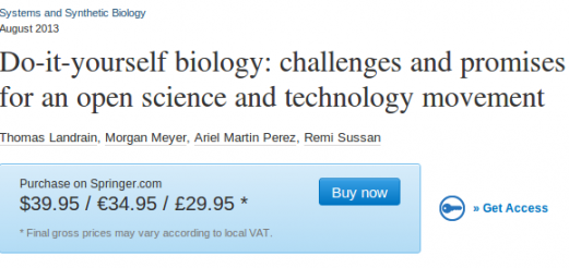 """Article on Do-it-yourself biology in """"Systems and Synthetic Biology"""", T. Landrain et. al."""