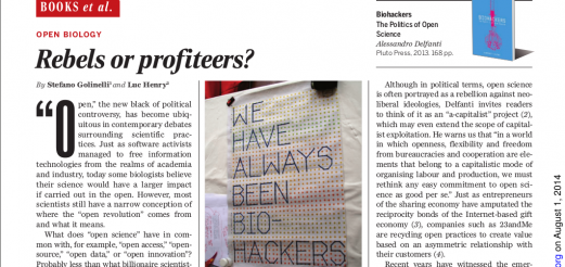 OPEN BIOLOGY – Rebels or profiteers? Science 1 August 2014